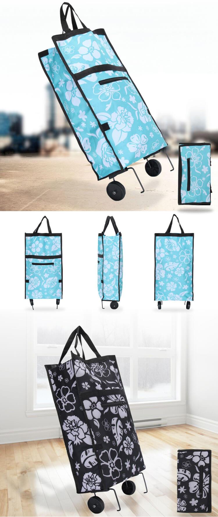 2 Wheels Disabled Multi-Function Vegetable Fruit Shopping Cart Bag