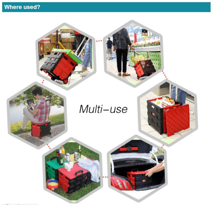 Plastic Market Climbing Stair Collapsible Wheel Shopping Cart