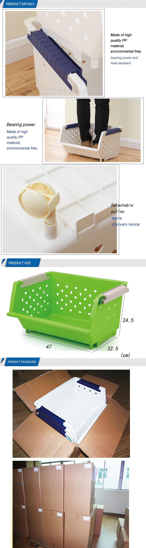 Magnetic Large Fruit And Vegetable Kitchen Plastic Storage Basket