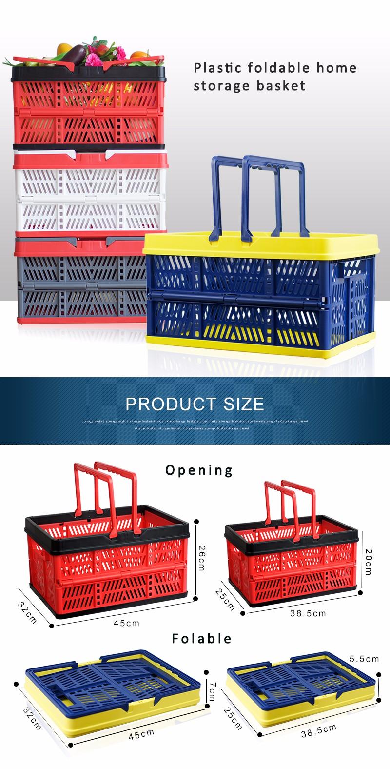 folding plastic storage basket