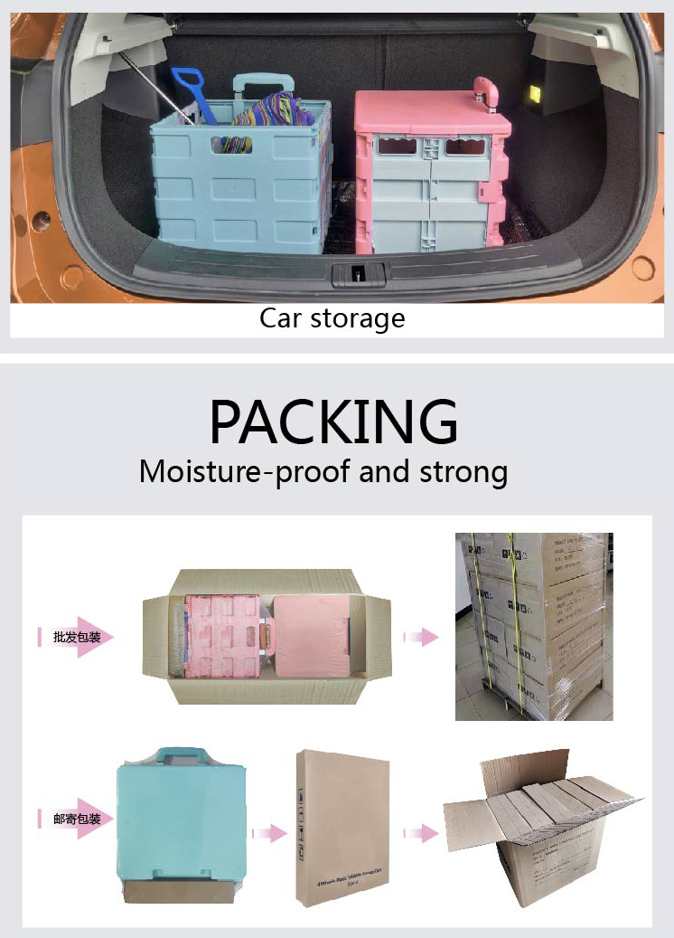 Wholesale Foldable Plastic Food Carts Folding Hand Push Grocery Shopping Trolley Cart