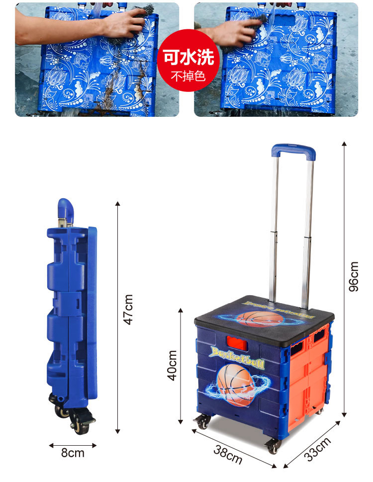 Wholesale Factory Folding Hand Push Grocery Plastic Rolling Foldable Shopping Trolley Cart