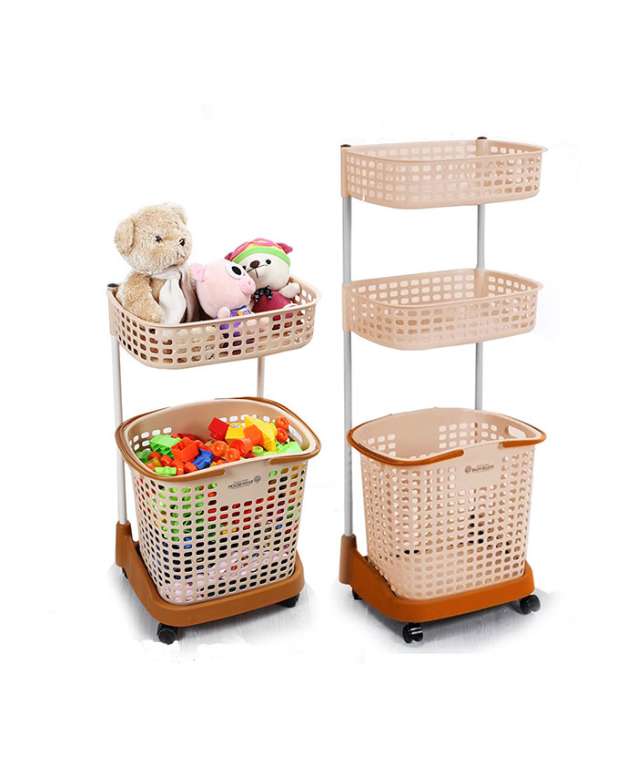 3 Layers Bathroom Folding Rolling With Wheels Plastic Laundry Basket