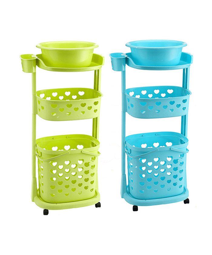 Plastic Colorful Dirty Flexible Foldable Cover Wheeled Collapsible Laundry Basket