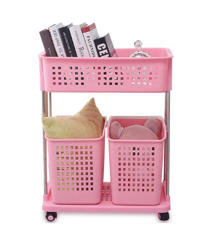 Plastic Dirty Clothes Trolley Movable Laundry Basket Cart
