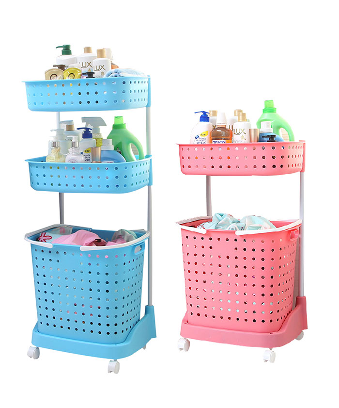 3 Layers Used Clothes  With Carry Handle Wheels Trolley Laundry Basket