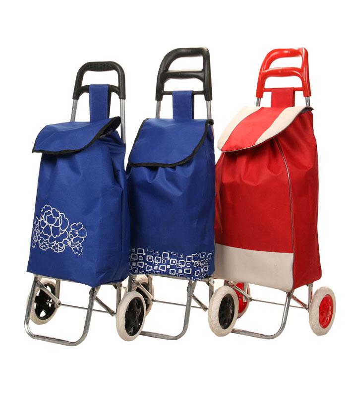 Wholesale Supermarket Folding With Stool Fabric Shopping Cart