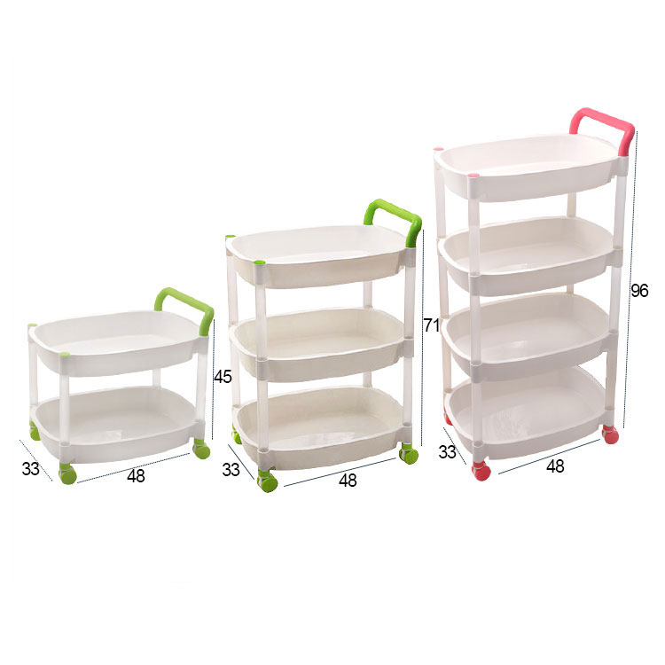 3 Tier Portable Kitchen Bathroom Utensil Trolly Plastic Storage Rack