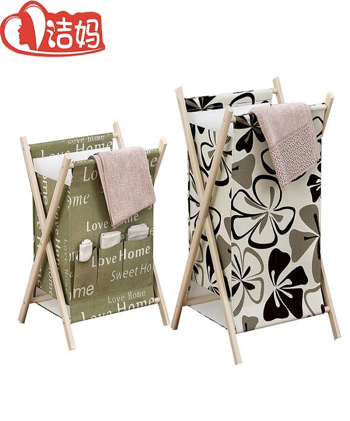 Clothing Toy Wooden Canvas Laundry Folding Storage Basket