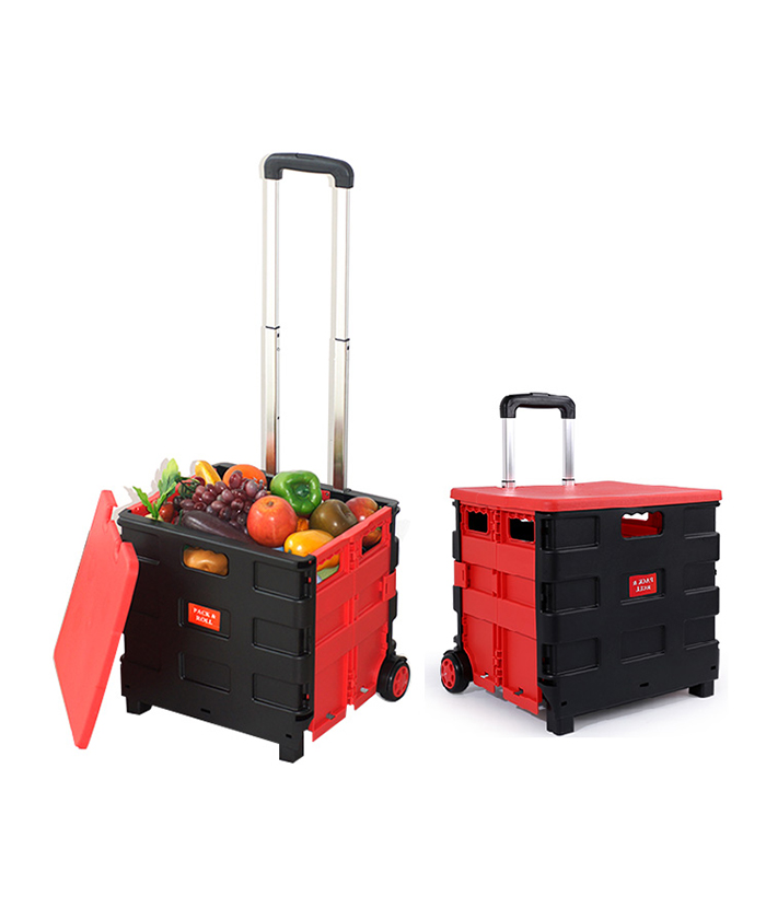 Foldable Supermarket Plastic Food Carts Folding Hand Push Grocery Shopping Trolley Cart