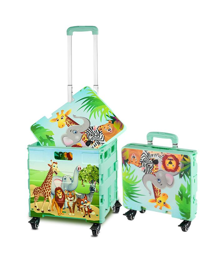 4 Wheel Shopping Cart Printed Pattern Customize Factory