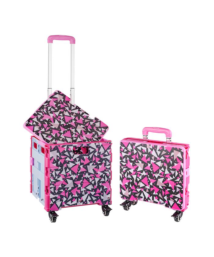 Plastic Foldable Supermarket Mini Luggage Trolleys Portable Cart with Wheel