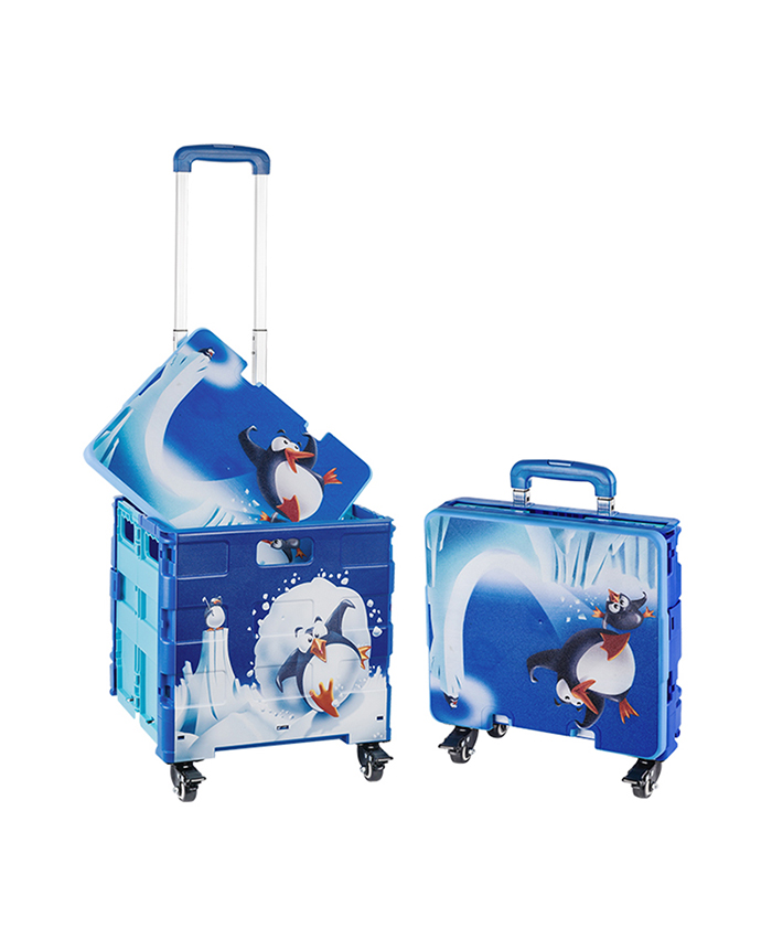 Custom Printing On Collapsible Boxs Foldable Shopping Trolleys Carts